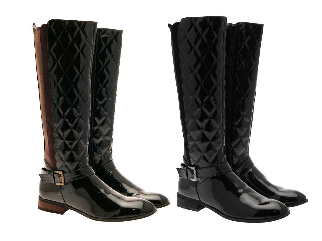 WOMENS TALL QUILTED WIDE CALF STRETCH RIDING BOOTS KNEE HIGH ...