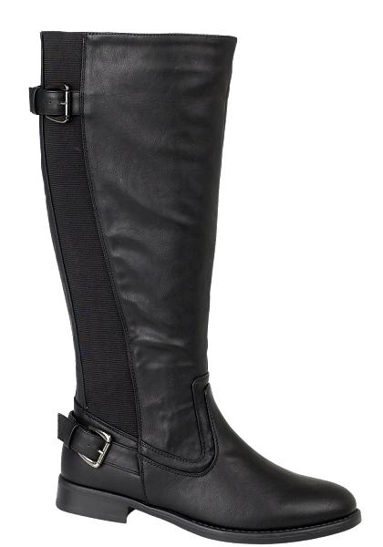 womens stretch calf flat boots knee high faux