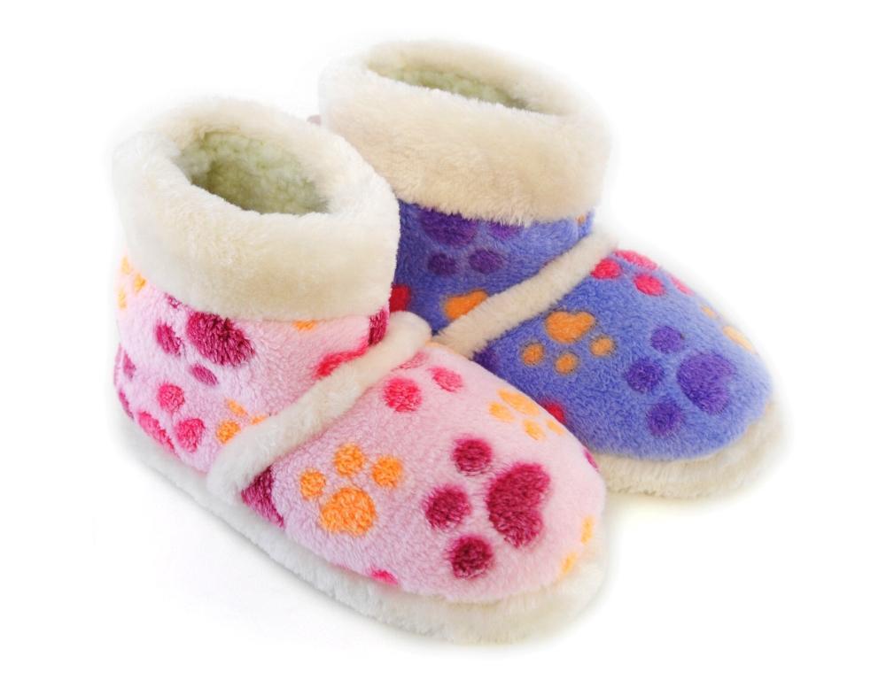 GIRLS KIDS PLUSH FLEECE PAWS SLIPPERS BOOTS WINTER BOOTIES XMAS GIFT SIZE UK 9-3