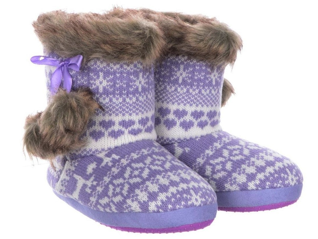 d744f63bb8f00 Details about GIRLS KIDS CHARACTER SEQUIN PAW FAIRISLE SLIPPERS BOOTS  WINTER BOOTIES SIZE 9- 3