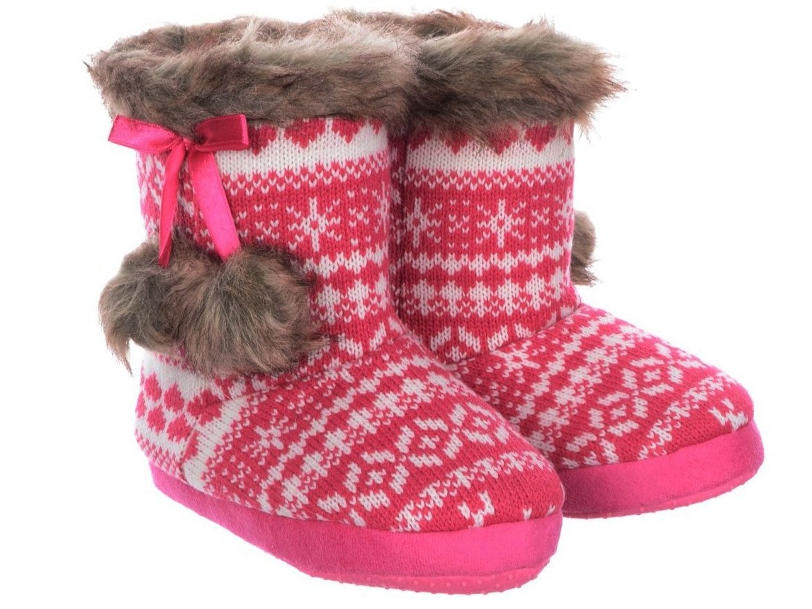 055863f268d4 GIRLS KIDS CHARACTER SEQUIN PAW FAIRISLE SLIPPERS BOOTS WINTER ...