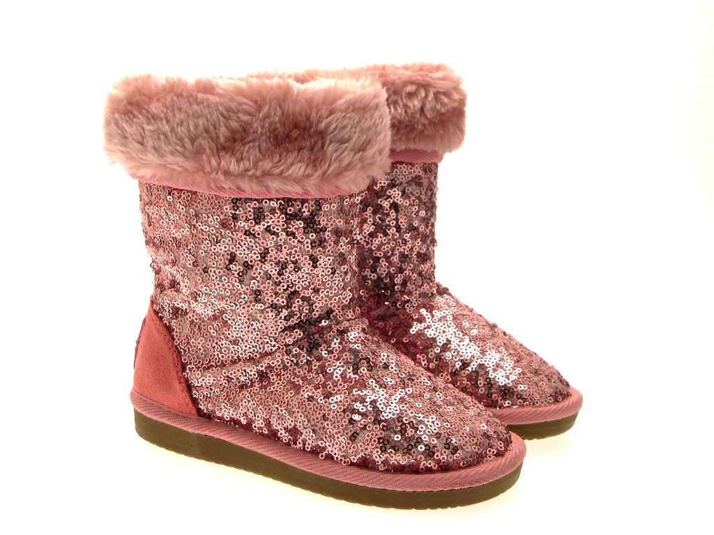 WOMENS GIRLS LADIES KIDS SEQUIN FUR LINED MID CALF FAUX ...