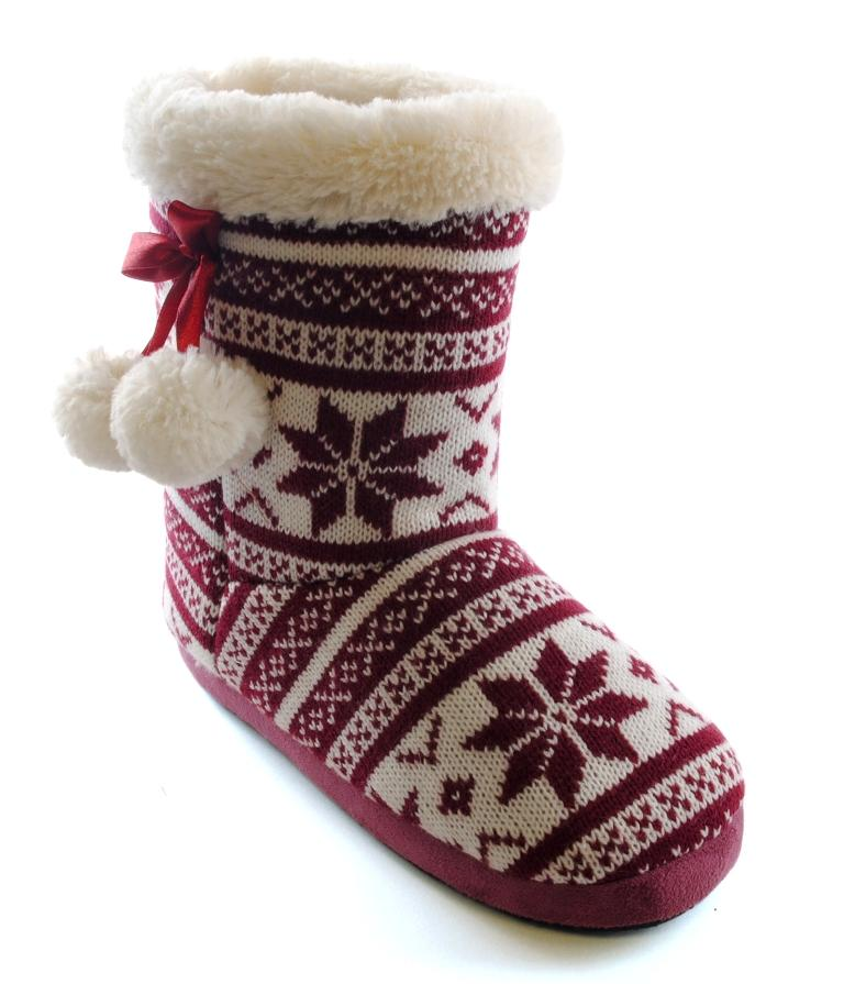 WOMENS SLIPPER BOOTS BOOTIES SLIPPERS KNITTED or FLEECE GIRLS ...