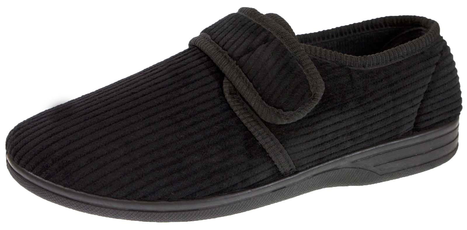 Mens slippers black velour velvet soft heel wide fit sizes 8 14 ebay for Mens bedroom slippers size 14