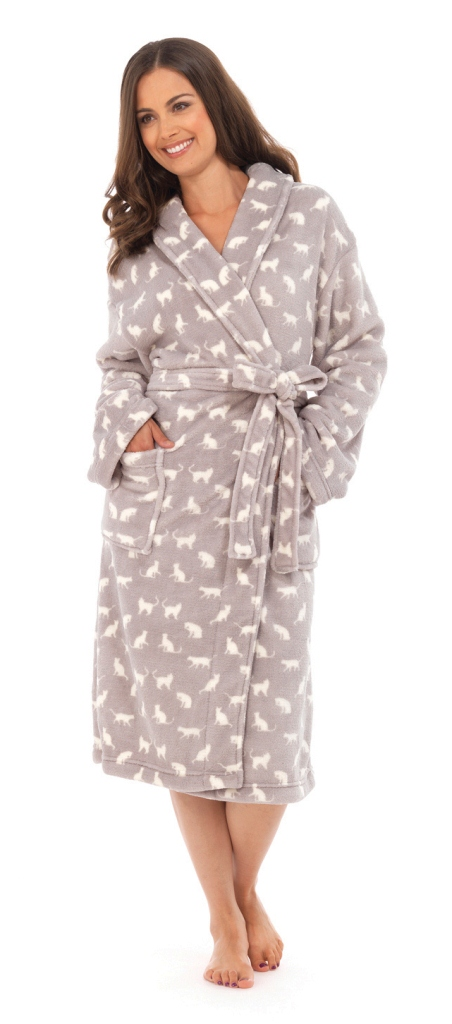 LUXURY WOMENS CAT FULL LENGTH BATH ROBE DRESSING GOWN HOUSECOAT ...