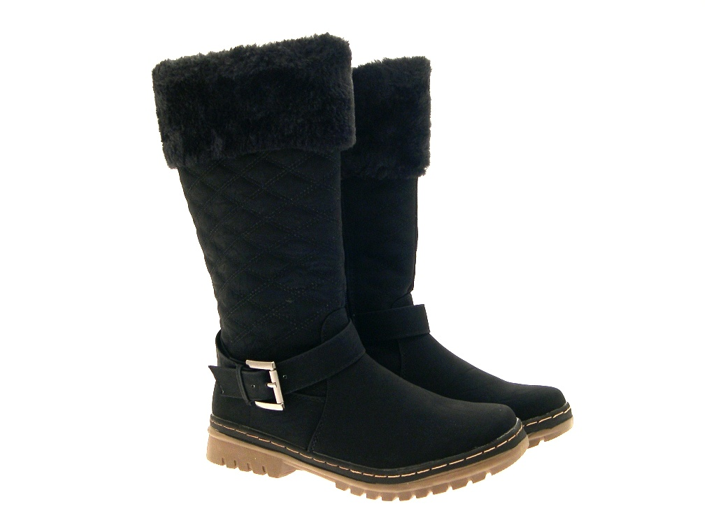 WOMENS QUILTED FUR LINED CUFF WINTER SNOW BOOTS FLAT GIRLS