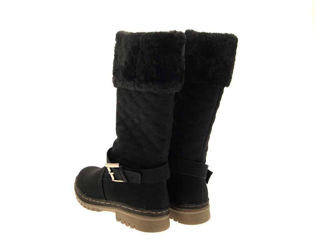 womens quilted fur lined cuff winter snow boots flat
