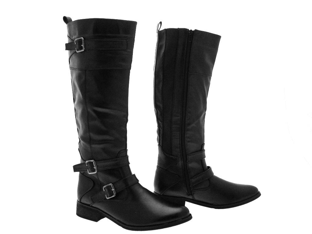 womens buckle boots knee high faux leather black