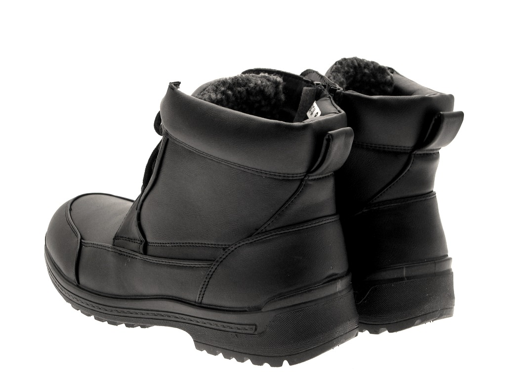 mens snow warm fur lined mucker work ankle boots black zip