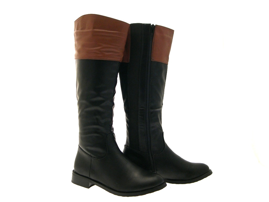 WOMENS TAN TOP TWO TONE RIDING BOOTS KNEE HIGH FLAT LADIES BLACK ...