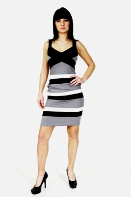 WOMENS BODYCON STRETCH BLACK GREY PANEL DRESS LADIES 8
