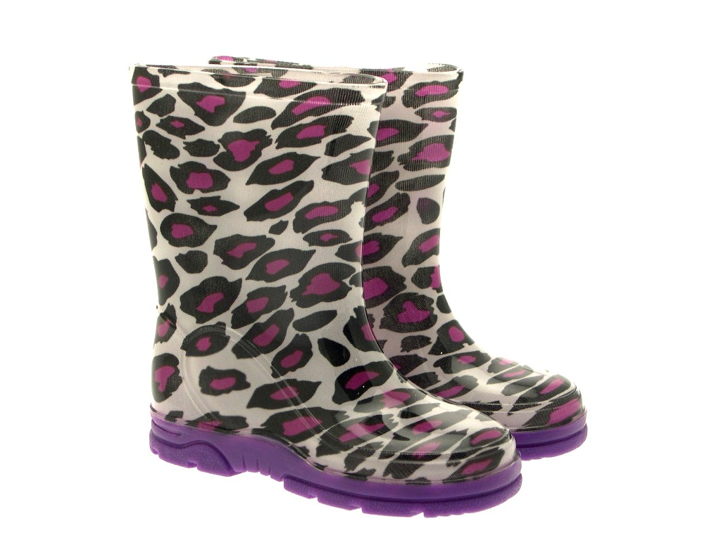 Boys Camo Girls Pink Stripe Wellington Boots Kids Snow