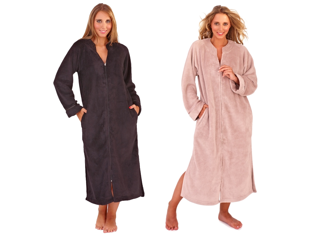 Ladies dressing gown bath robe zip up fleece house coat | eBay