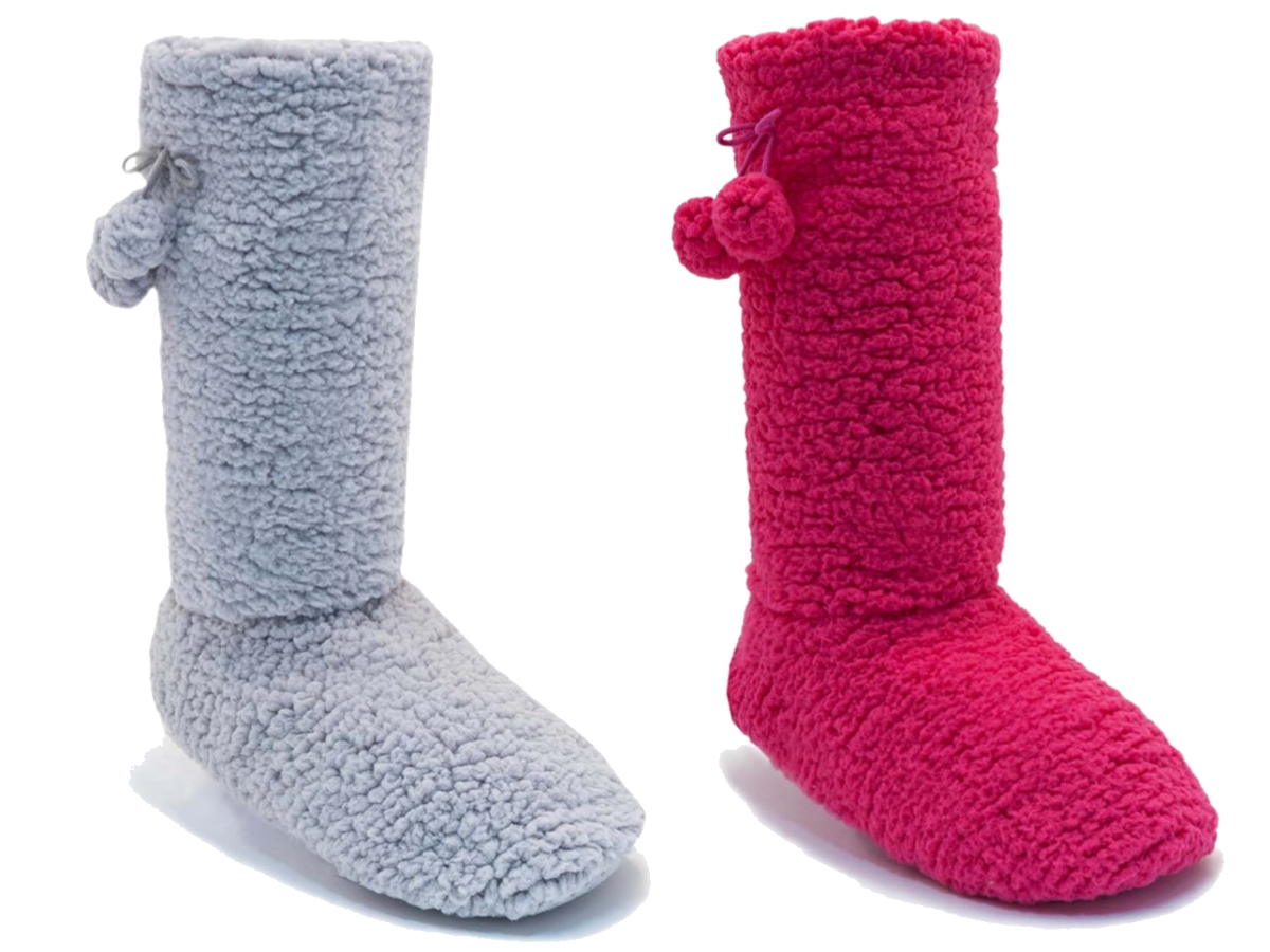 WOMENS SHERPA SLIPPER SOCKS BOOTS GIRLS KIDS LADIES POM LONG BOOTIES SIZE UK 3-8 | EBay