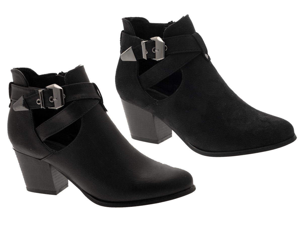 Womens Cut Out Ankle Boots Mid Block Heels Buckle Ladies