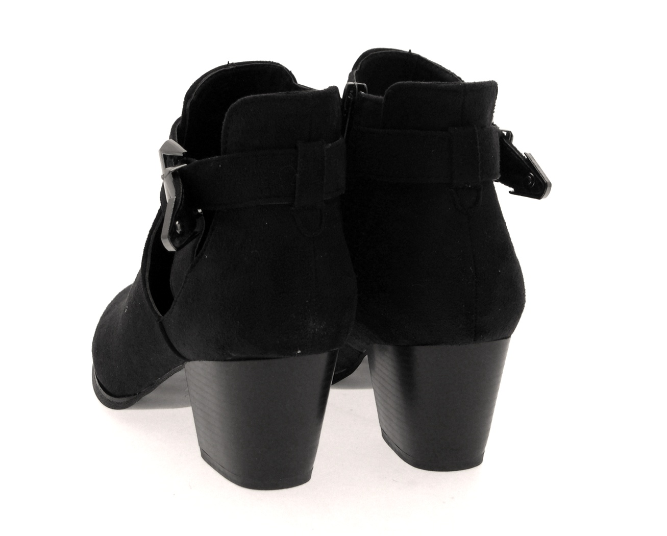 damen cut out ankle boots mid blockabsatz heels schnalle. Black Bedroom Furniture Sets. Home Design Ideas
