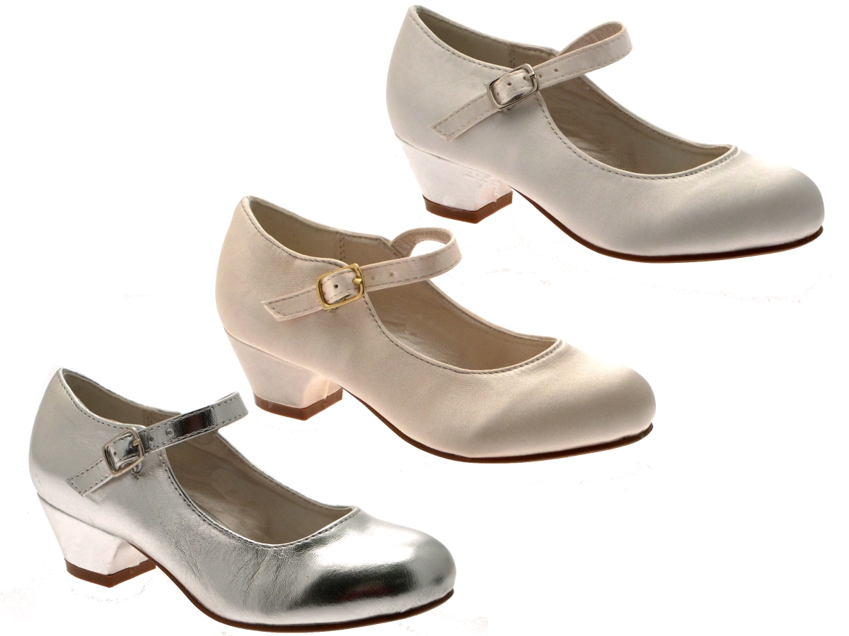 girls kids mary jane party satin bridesmaids small heels wedding shoes size 8 2