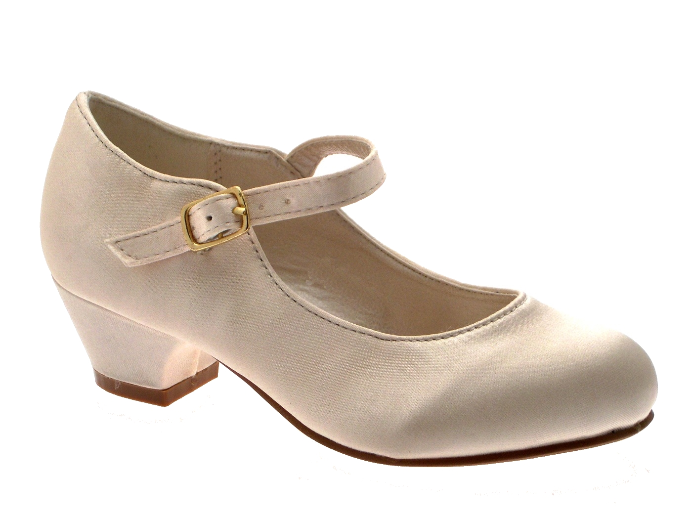 GIRLS KIDS MARY JANE PARTY SATIN SHOES BRIDESMAIDS SMALL HEELS WEDDING SIZE 8 2