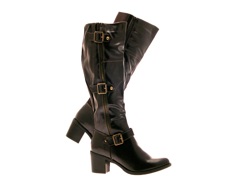 womens strappy wide calf stretch boots knee high