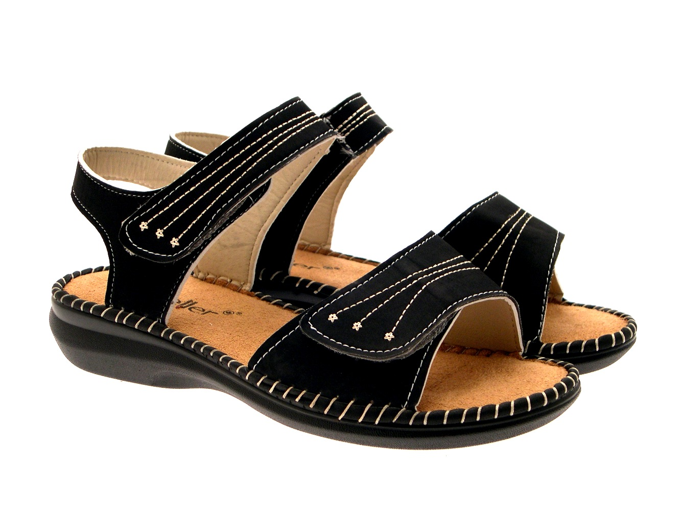 WOMENS LOW WEDGE WIDE COMFORT CUSHIONED SANDALS SUMMER ...