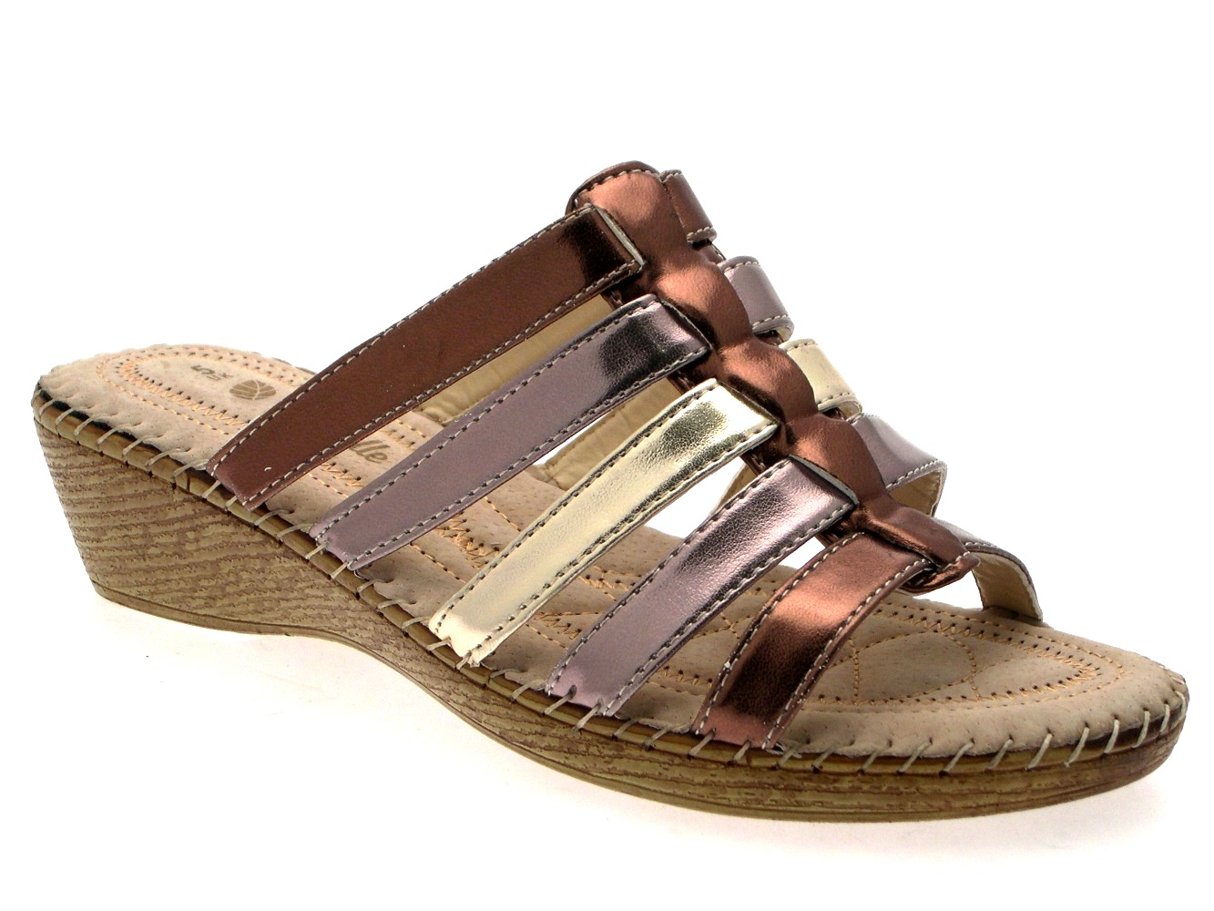 WOMENS COMFORT LOW WEDGES STRAPPY SANDALS MULES LADIES ...
