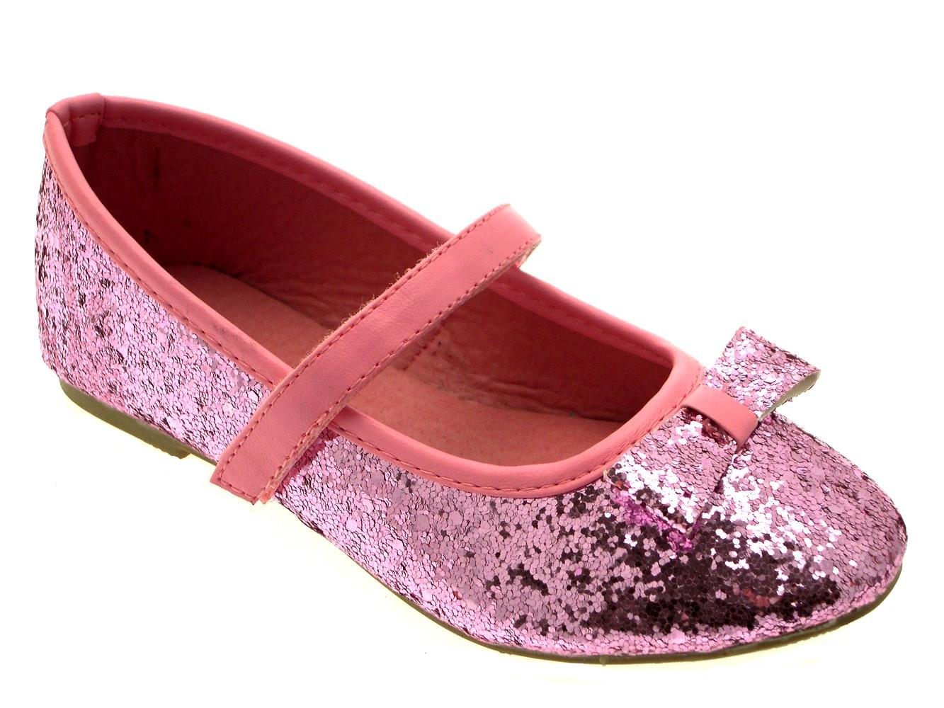 Bow ballet pumps flat childrens kids shoes wedding party size 4 12