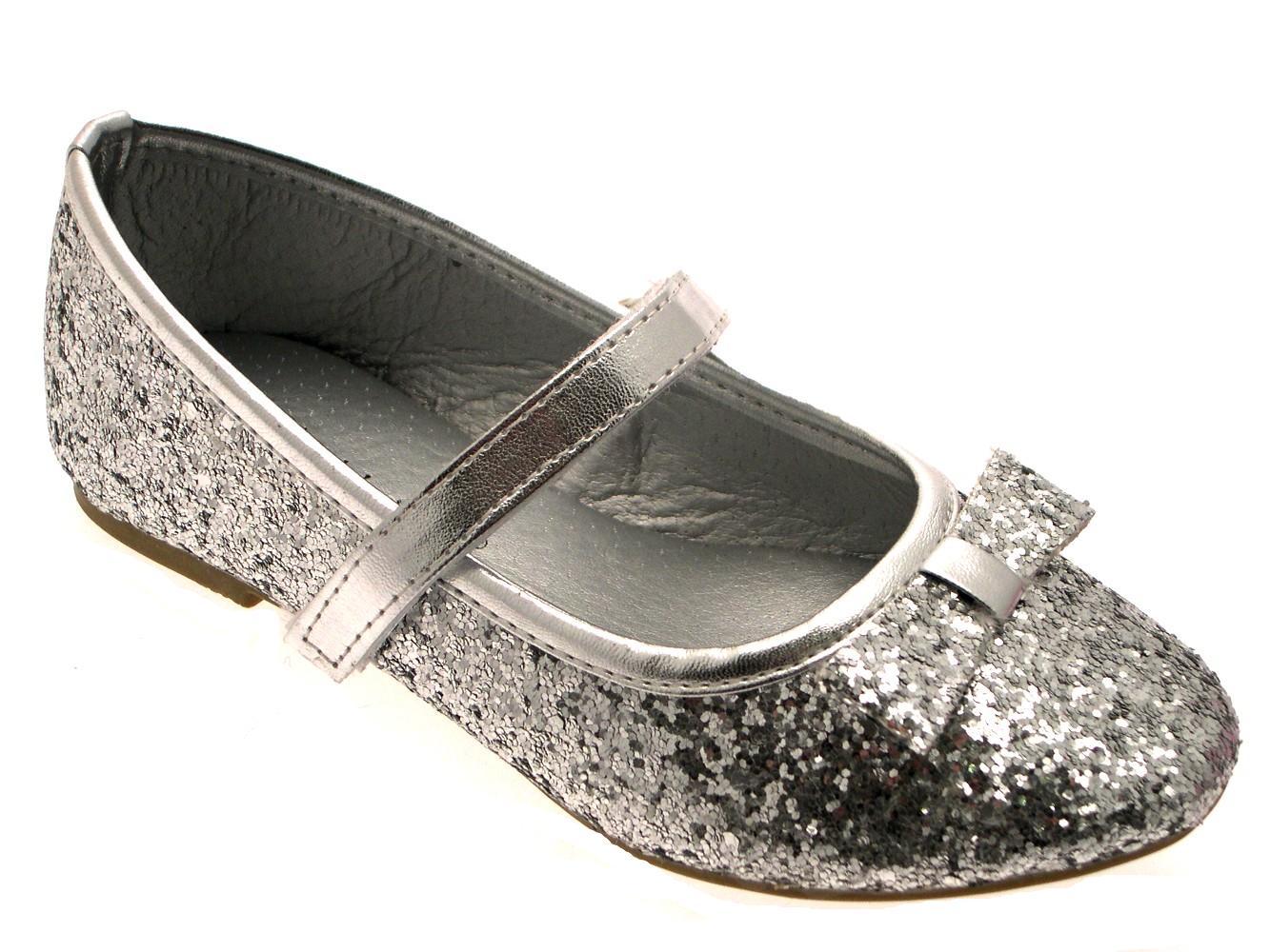 Girls glitter bow ballet pumps flat childrens kids shoes wedding party