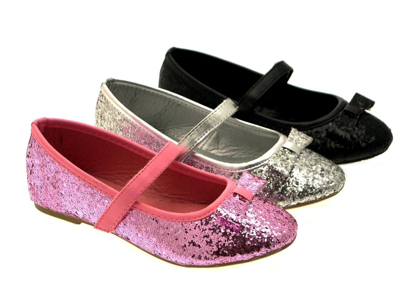 GIRLS-KIDS-CHILDRENS-GLITTER-BALLET-PUMPS-XMAS-PARTY-MARY-JANE-SHOES-SIZE-6-12