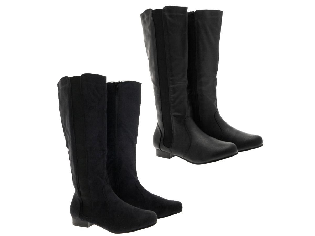 womens stretch wide calf flat boots knee high black