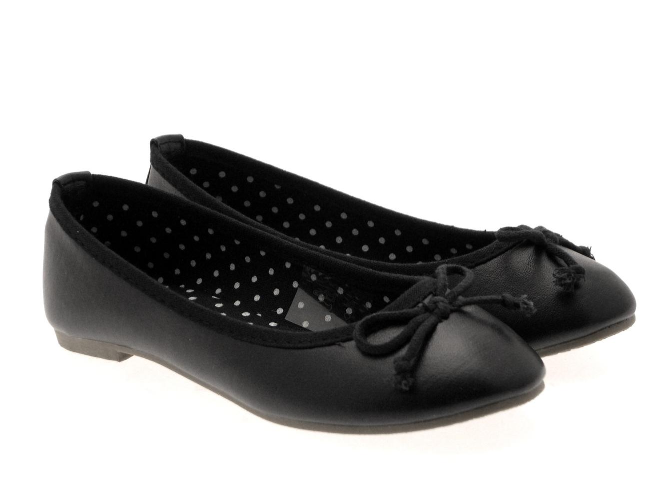 Girls Faux Leather Ballet Pumps Flat Kids Party Shoes 3D Bow Ballerinas Size