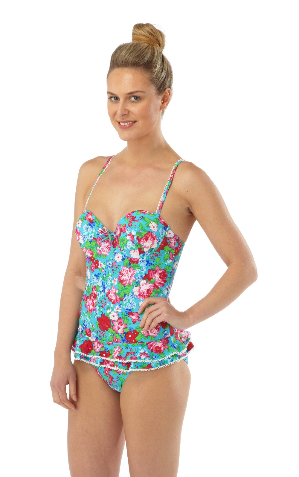 womens floral swimming costume frill skirt underwired