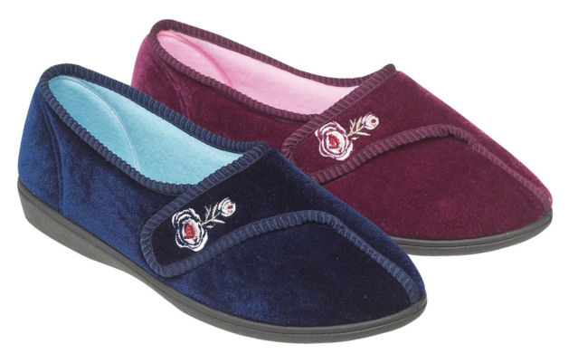 Womens Luxury Comfort Slippers With Adjustable Strap Wide Fit Velvet Mules Size Ebay