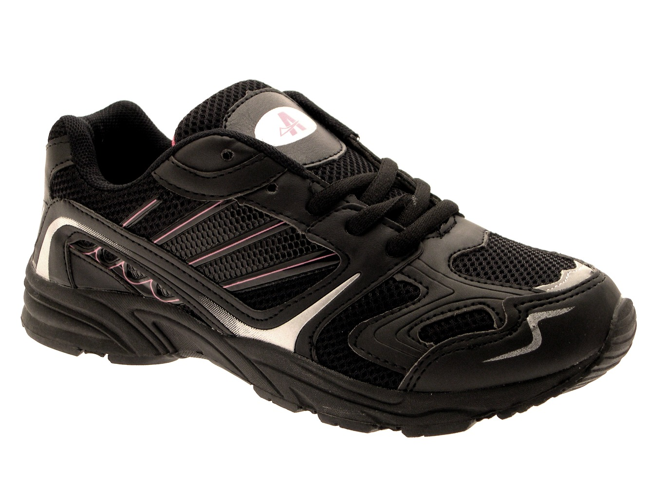 womens black casual running trainers sports