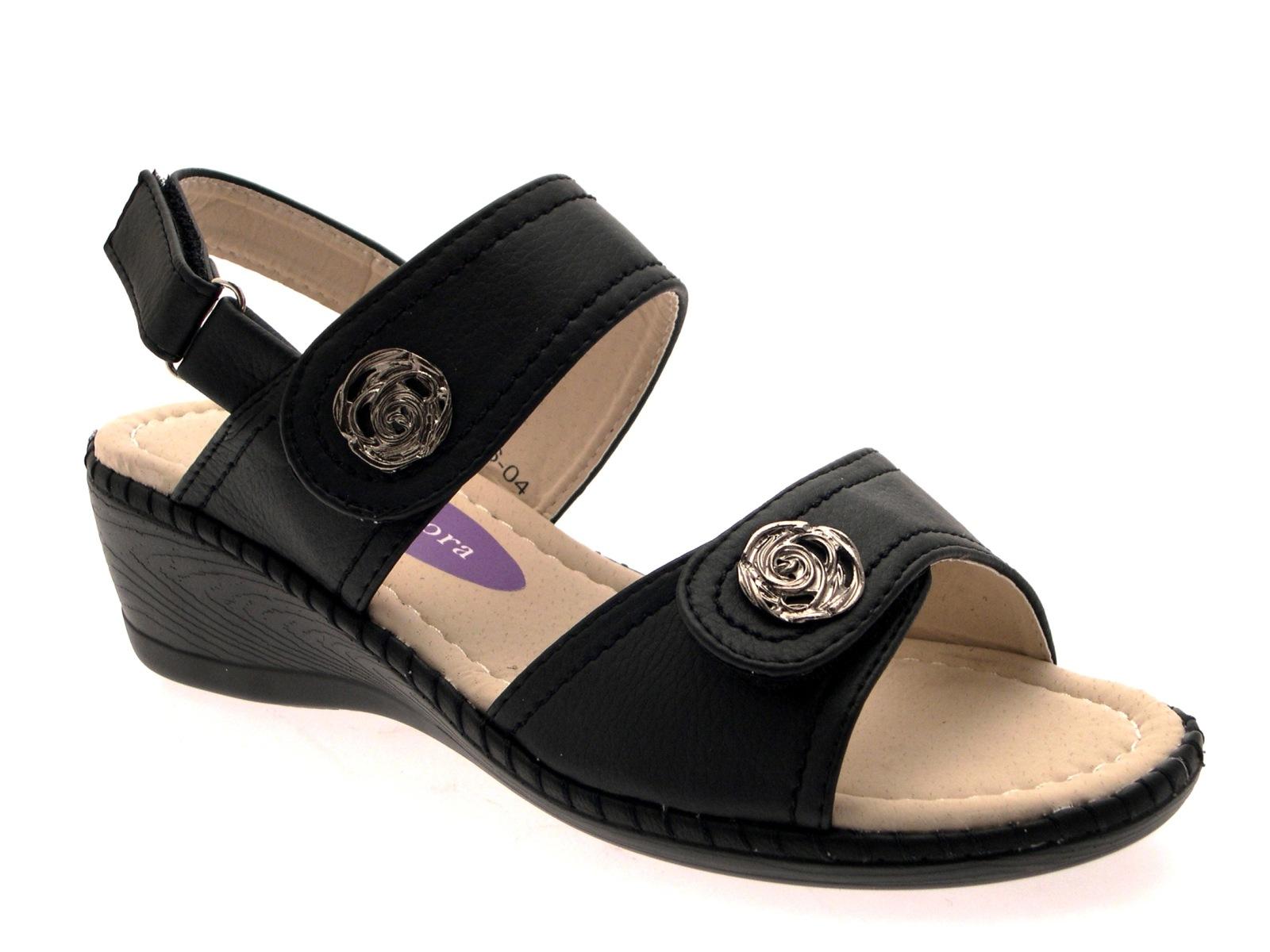 Lastest WOMENS COMFORT WIDE LOW WEDGE VELCRO STRAPS SHOES SANDALS LADIES SIZE UK 3 - 8   EBay