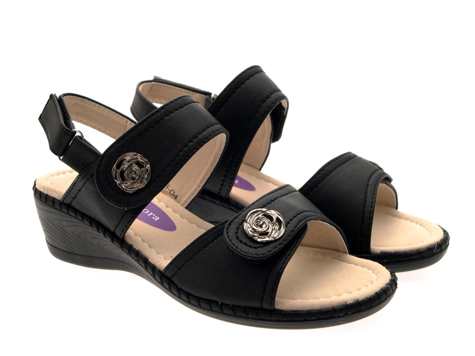 Model Rieker Womens Leather Velcro Strap Sandals Beige | McElhinneys
