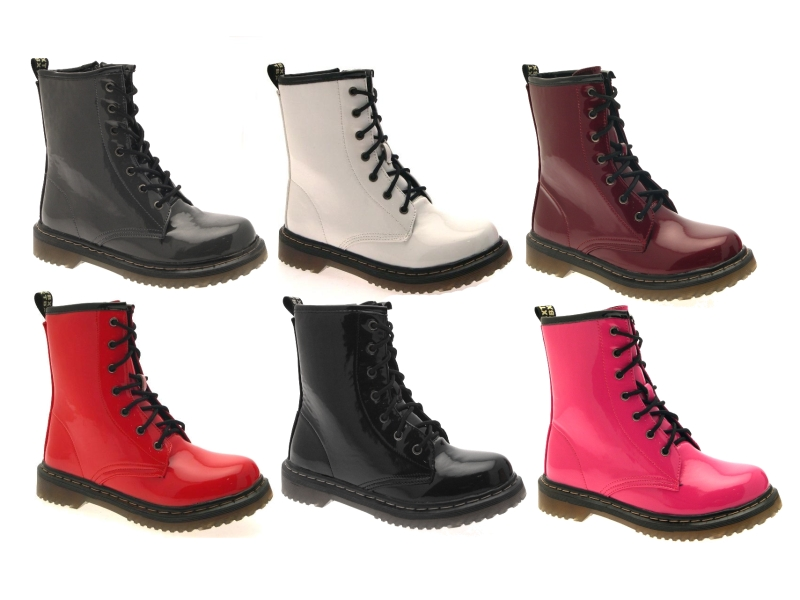 WOMENS KIDS GIRLS BOYS ANKLE BOOTS LACE UP FAUX PATENT LEATHER ...