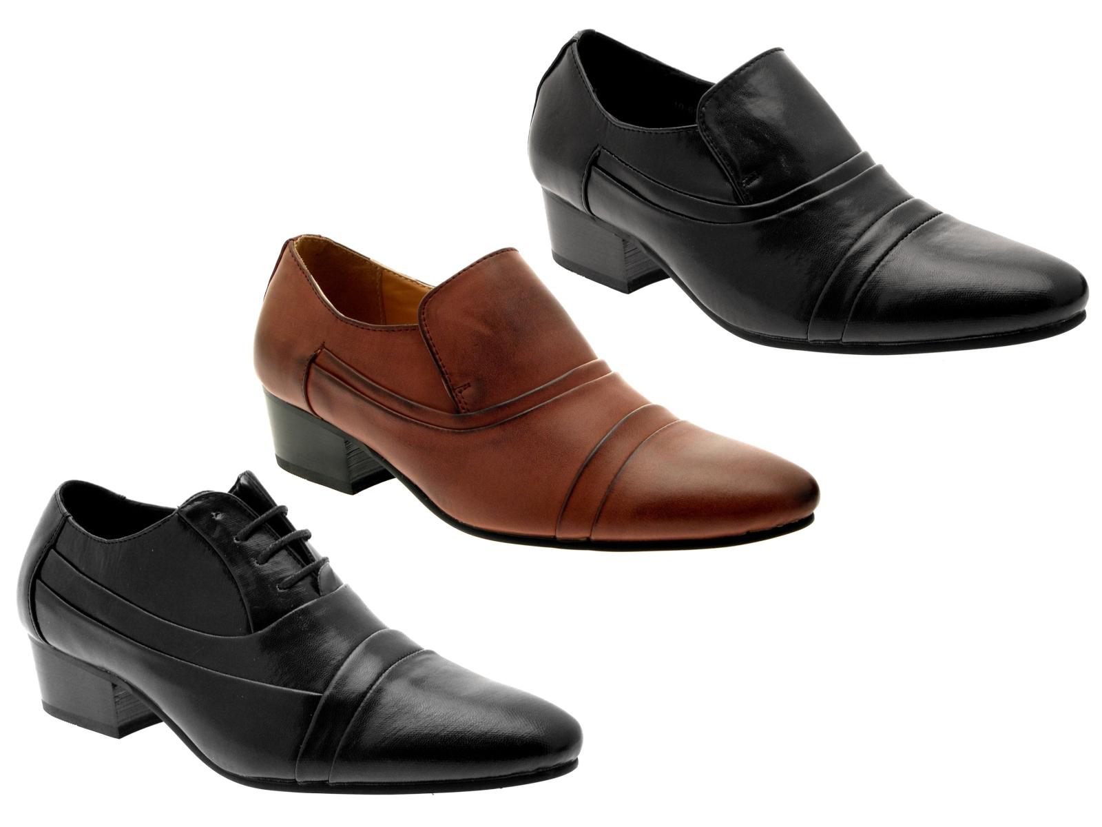 mens smart cuban heels formal wedding office shoes slip on