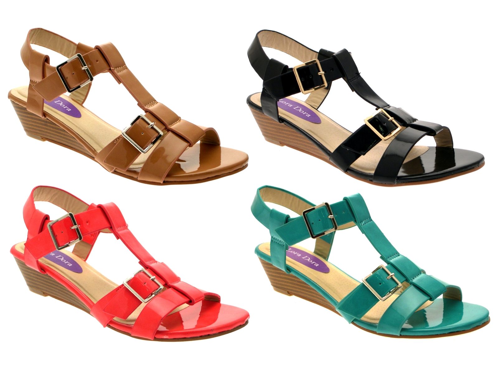 womens patent low wedge strappy sandals summer