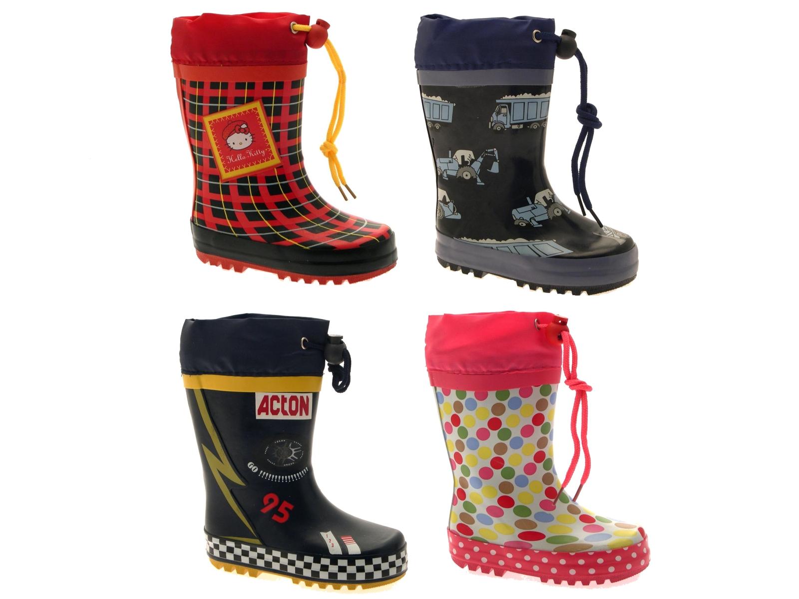 Childrens Girls Pink Hello Kitty Drawstring Wellies Rain Snow Boots Kids Size
