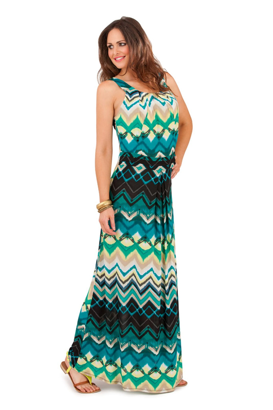 Womens Striped Zig Zag Strappy Maxi Full Length Summer ...