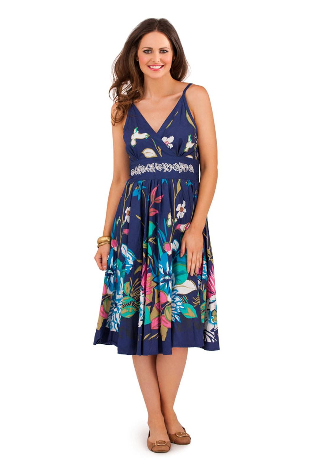Womens 100% Cotton V Neck Below Knee Length Floral Summer ...