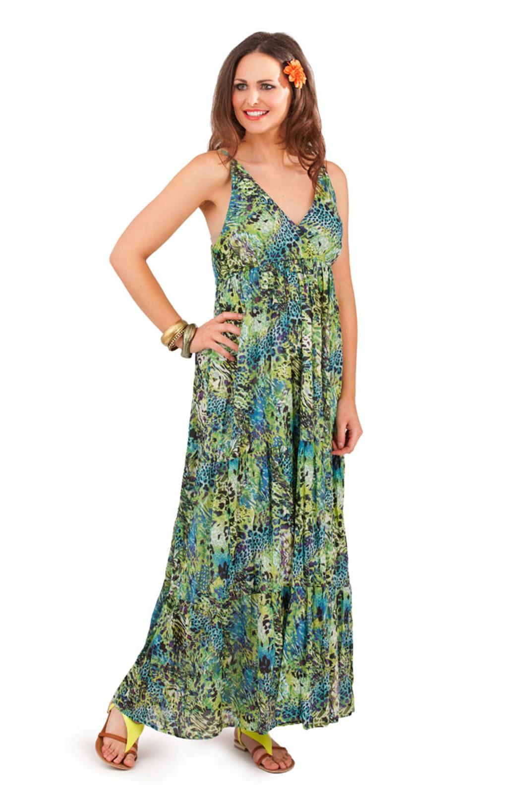 D430 GREEN womens 100% cotton flower v neck maxi full length summer dress,Ebay Womens Clothing Size 8