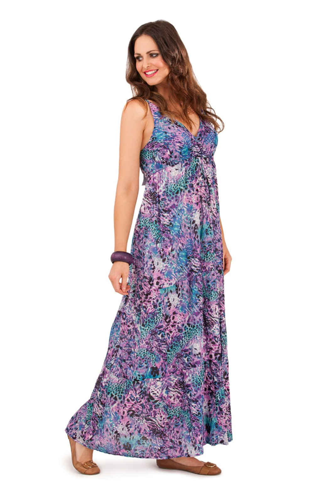 Womens-100-Cotton-Flower-V-Neck-Maxi-Full-Length-Summer-Dress-Ladies-Size-8-16