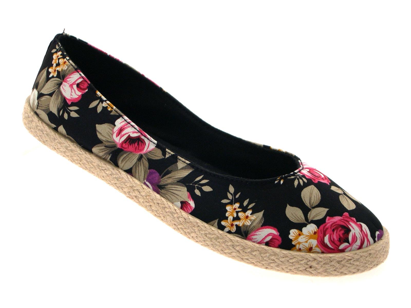 womens floral flat canvas pumps hessian espadrilles