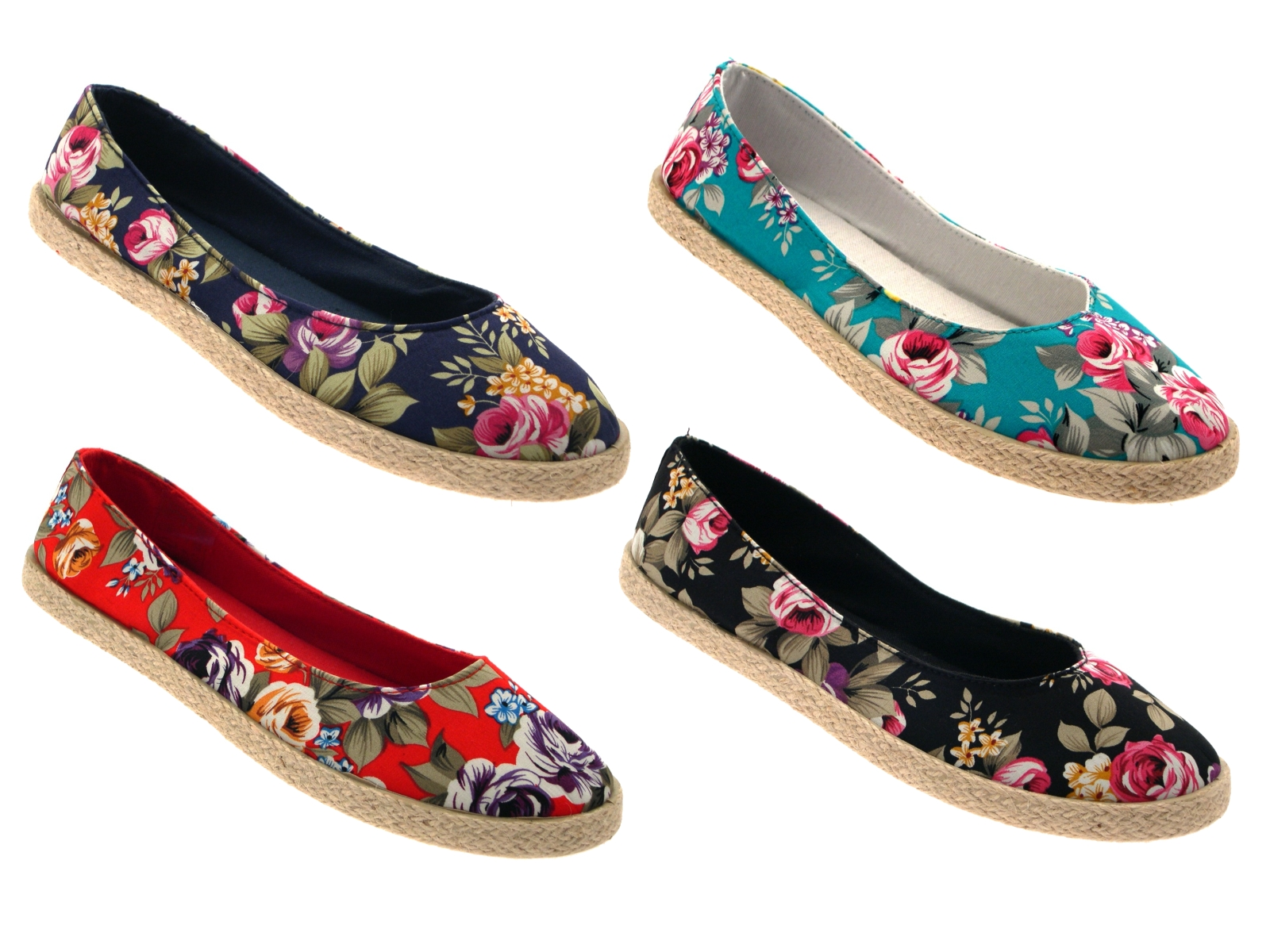 womens floral flat canvas pumps hessian espadrilles