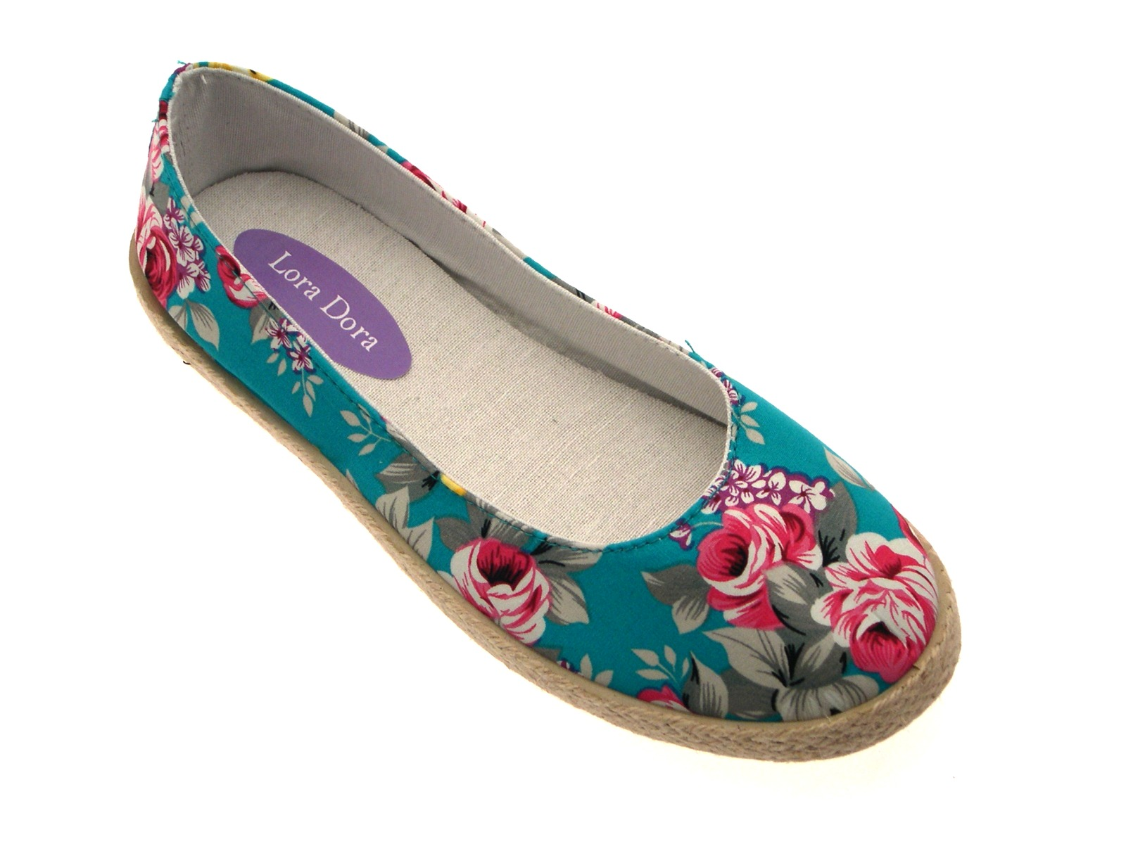 30a5a48197b2 Womens Floral Flat Canvas Pumps Hessian Espadrilles Plimsolls Shoes ...