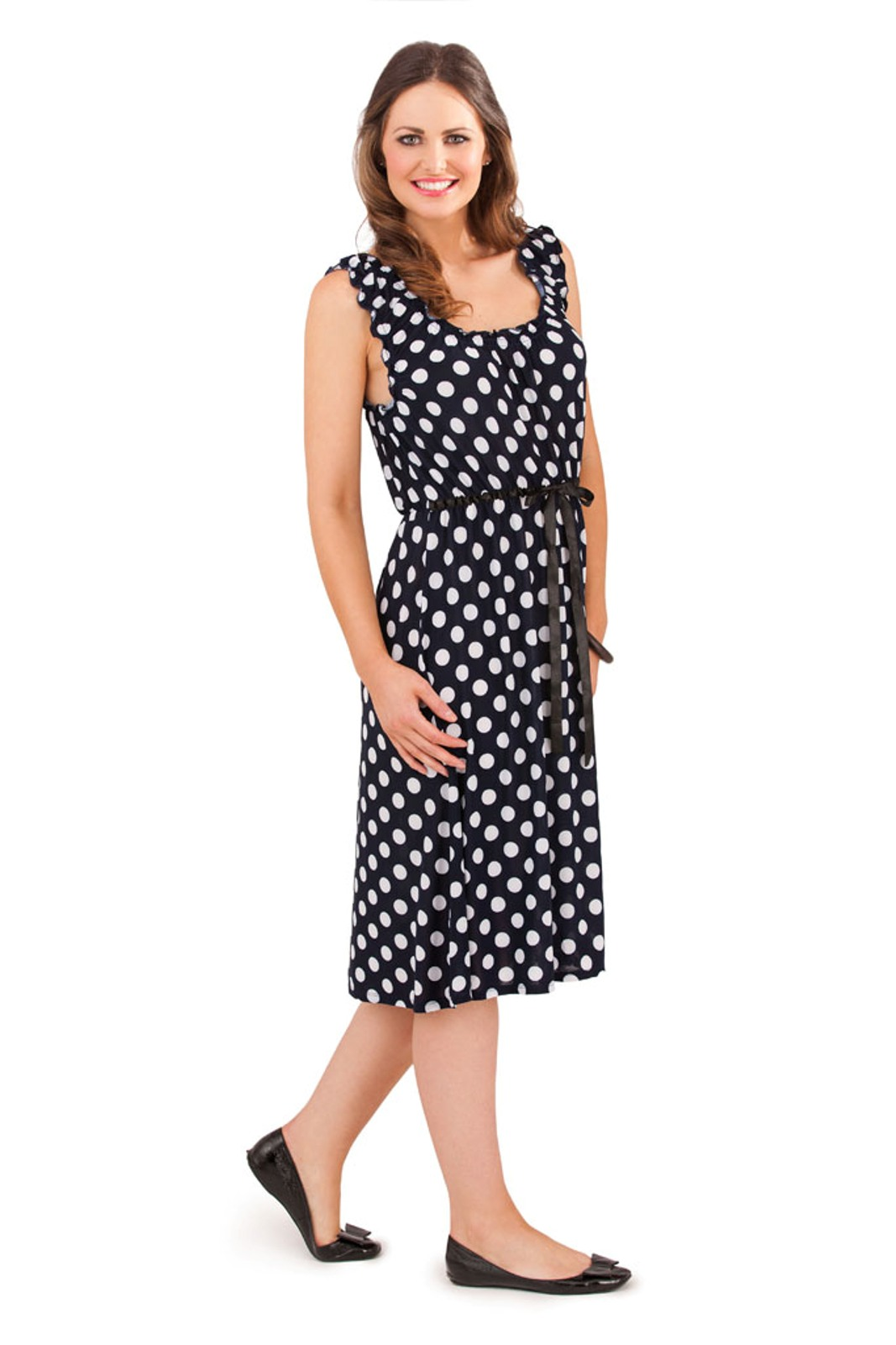 Womens Polka Dot Mid Knee Length Summer Dress Spot Design Ladies ...