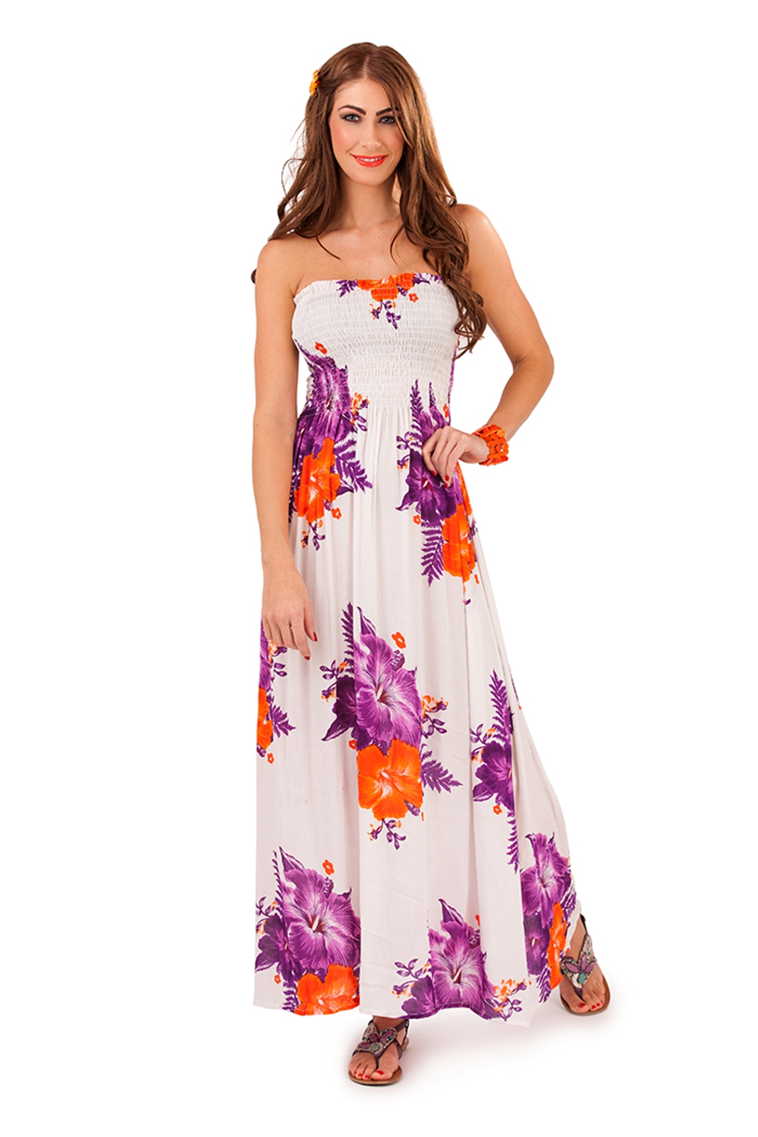 Womens Strapless Bandeau Summer Maxi Full Length Ladies ...