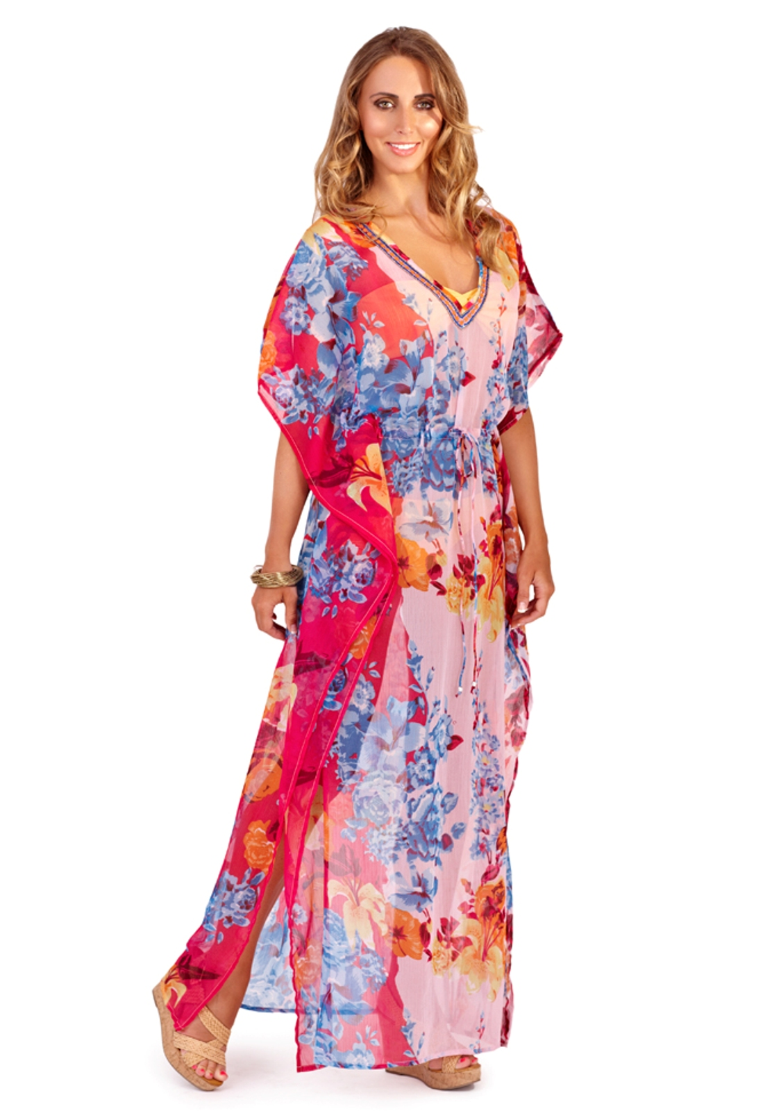 Beachcover's hand-embroidered Beach Kaftans / Cover Ups are the ultimate light weight accessory to add to your holiday capsule wardrobe! Wear around the pool or beach or simply slip one on over a pair of trousers/jeans or leggings for a 'boho' chic look!
