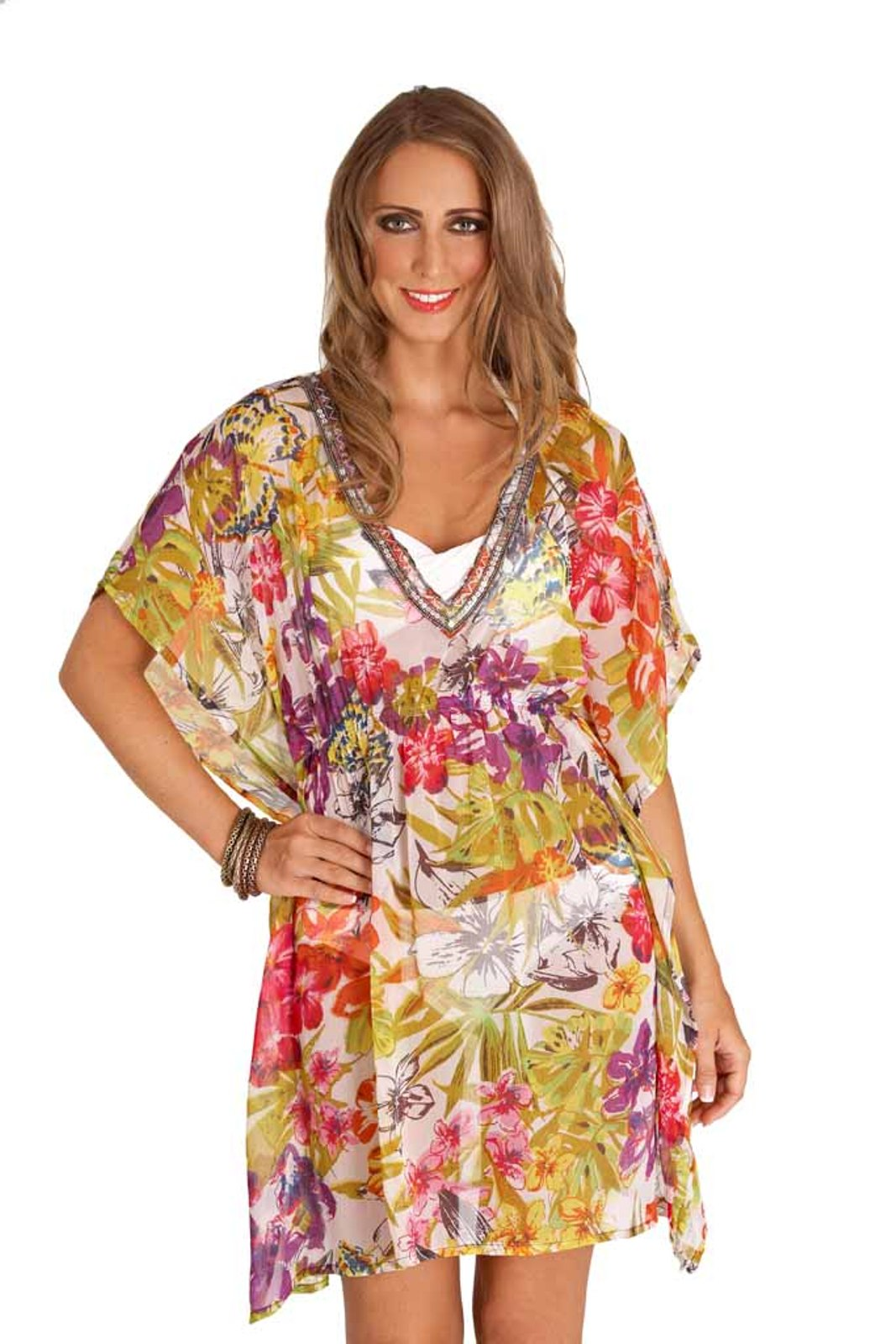 womens chiffon kaftan floral beachwear cover up short summer dress ladies 8 14 ebay. Black Bedroom Furniture Sets. Home Design Ideas